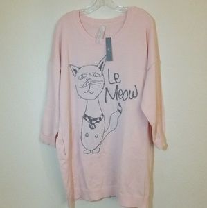 NWT Melissa McCarthy Le Meow Pink Sweater